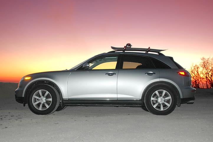 Sunset pic of fx with snowboard racks infiniti fx forum fx35 fx45 and fx50 forums
